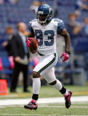 Deion Branch of the the Seattle Seahawks is pictured during the NFL game against the Indianapolis Colts at Lucas Oil Stadium on October 4 2009 in...
