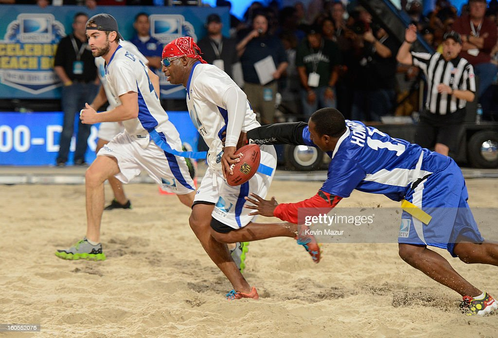 Deion Sanders attends DIRECTV'S 7th annual celebrity Beach Bowl at DTV SuperFan Stadium at Mardi Gras World on February 2, 2013 in New Orleans, Louisiana.