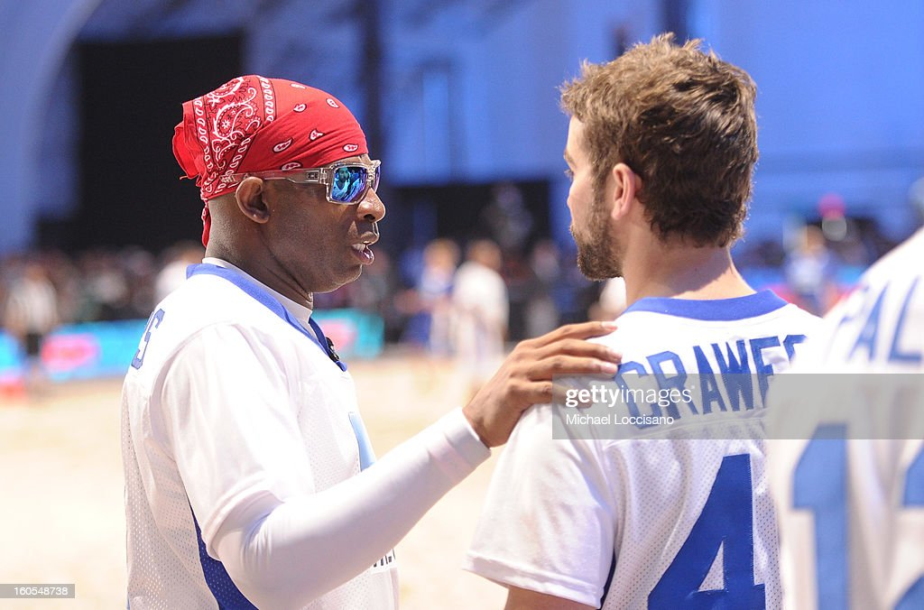 Deion Sanders (L) attends DIRECTV'S Seventh Annual Celebrity Beach Bowl at DTV SuperFan Stadium at Mardi Gras World on February 2, 2013 in New Orleans, Louisiana.