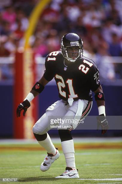 Deion Sanders of the Atlanta Falcons during a NFL football game against the Washington Redskins on September 13 1992 at RFK Stadium in Washington DC
