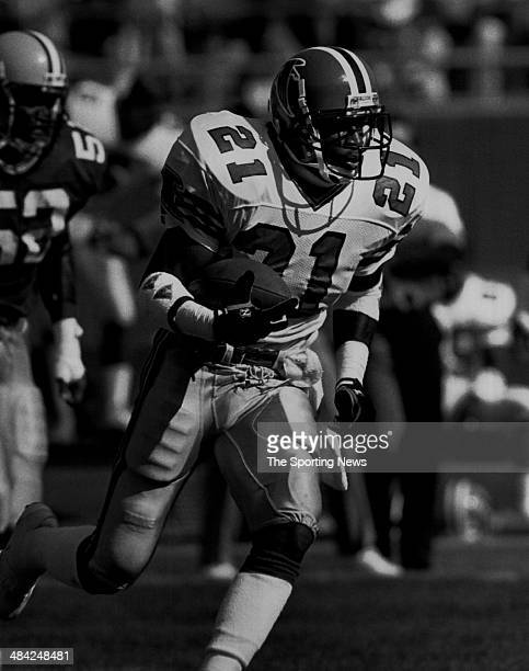 Deion Sanders of the Atlants Falcons runs with the ball circa 1990s
