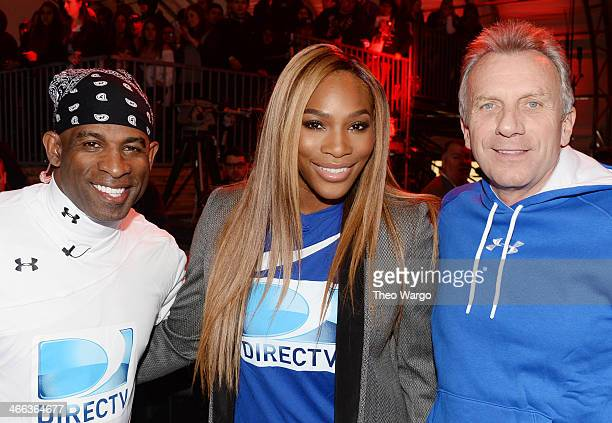 Deion Sanders Serena Williams and Joe Montana participate in the DirecTV Beach Bowl at Pier 40 on February 1 2014 in New York City