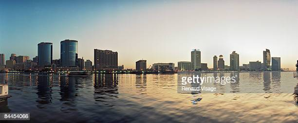 Deira skyline and Dubai Creek at sunrise