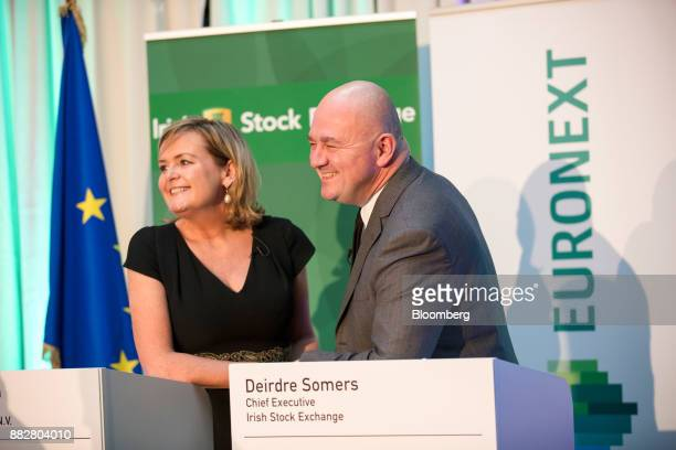 Deirdre Somers chief executive officer of Irish Stock Exchange Plc left and Stephane Boujnah chief executive officer Euronext NV poses for a...