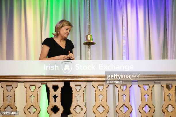 Deirdre Somers chief executive officer of Irish Stock Exchange Plc looks at the opening bell during a news conference at the Irish Stock Exchange in...