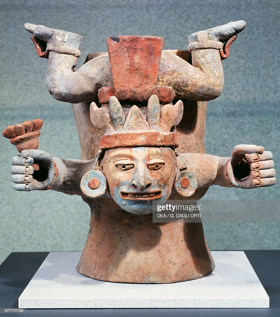 Deities associated with the cult of the corn polychrome terracotta ceremonial vessel Mexico Mayan civilisation 8th century Mexico City Museo Nacional...