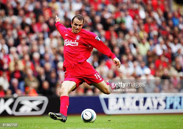 Deitmar Hamann during the FA Barclays Premiership match between Liverpool and West Bromwich Albion at Anfield on September 11 2004 in Liverpool...