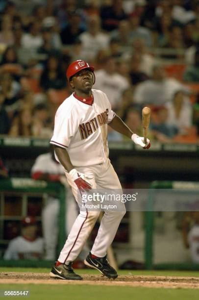 Deivi Cruz of the Washington Nationals takes a swing during a game against the Philadelphia Phillies on September 2 2005 at RFK Stadium in Washington...
