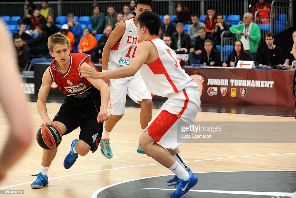 Deividas Kumelis, #4 of Lietuvos Rytas Vilnius in action during the Nike International Junior Tournament game between Lietuvos Rytas Vilnius v Team China at London Soccerdome on May 10, 2013 in London, United Kingdom.