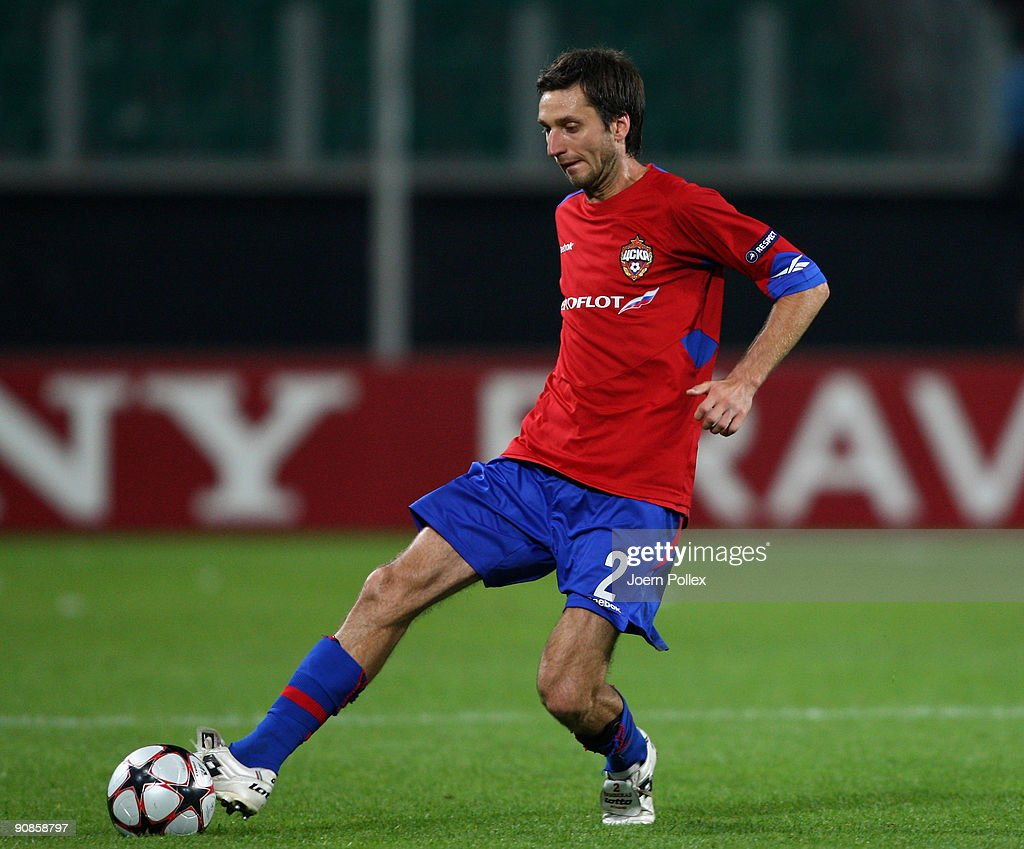 Deividas Semberas of Moscow plays the ball during the UEFA Champions League Group B match between VfL Wolfsburg and CSKA Moscow at Volkswagen Arena on September 15, 2009 in Wolfsburg, Germany.