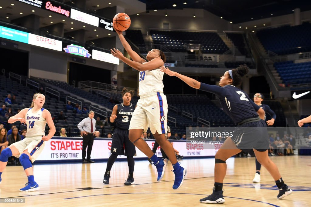 Deja Cage #31 of the DePaul Blue Demons drives to the basket during a women's college basketball game against the Xavier Musketeers at Wintrust Arena on January 12, 2018 in Chicago, Illinois. The Blue Demons won 79-48.