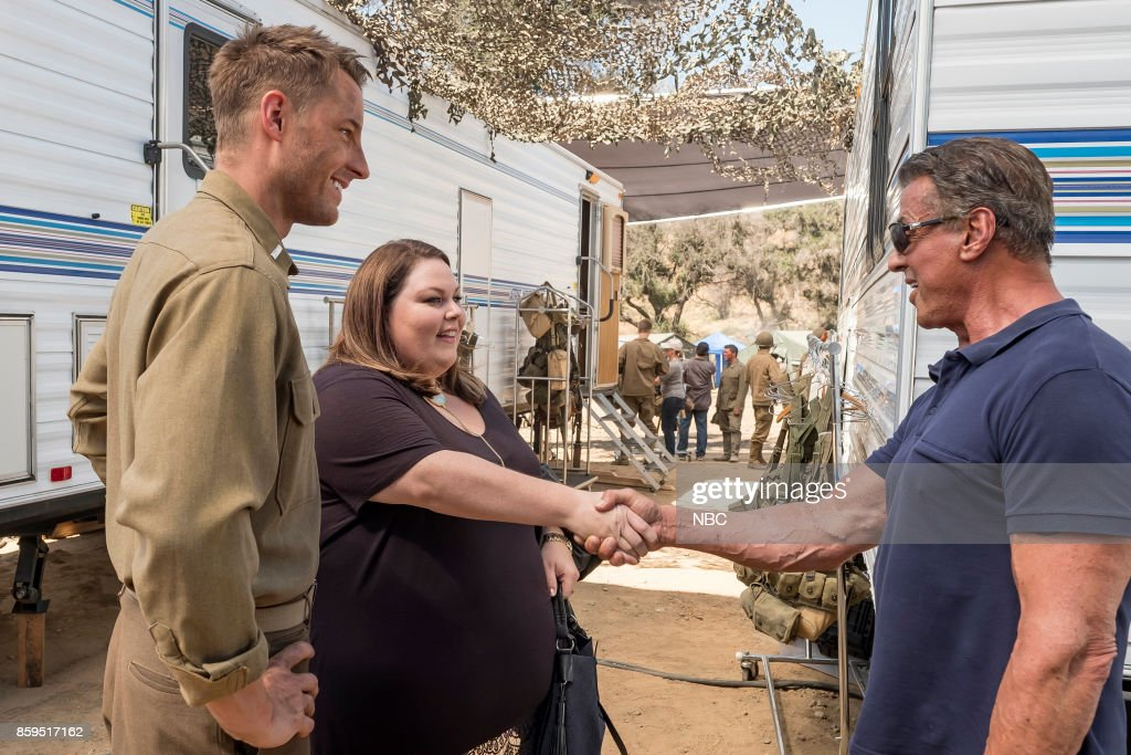 US -- 'Deja Vu' Episode 203 -- Pictured: (l-r) Justin Hartley as Kevin Pearson, Chrissy Metz as Kate Pearson, Sylvester Stallone as Himself --