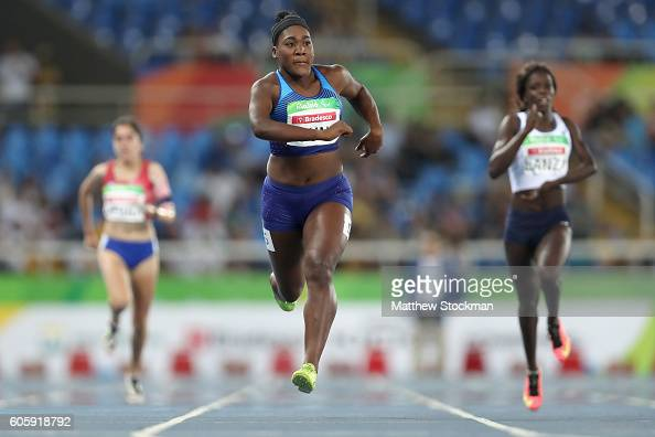 Deja Young of the United States competes in the women's 200 meter T47 heat 1 during day 8 of the Rio 2016 Paralympic Games at the Olympic Stadium on...