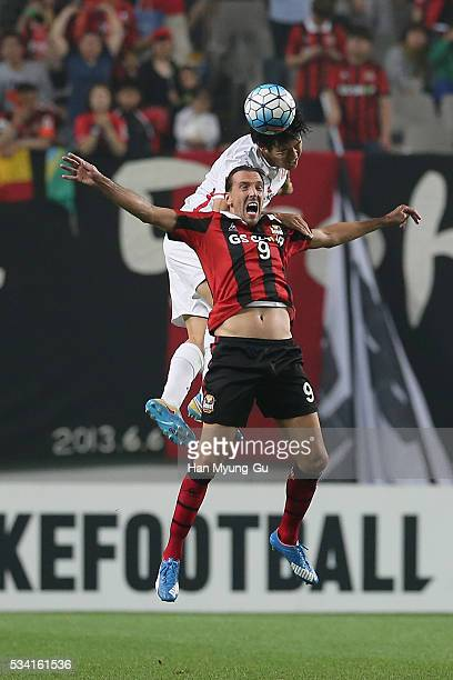 Dejan Damjanovic of FC Seoul in action during the AFC Champions League Round Of 16 match between FC Seoul and Urawa Red Diamonds at Seoul World Cup...