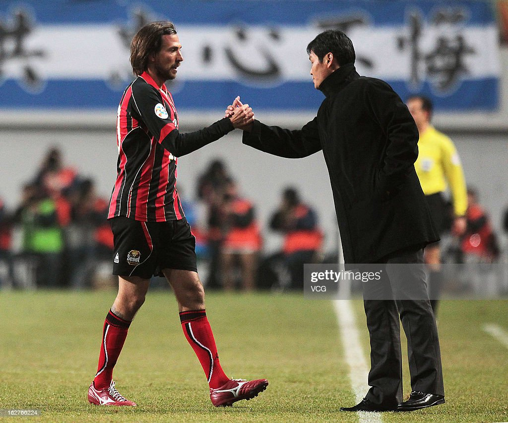 Dejan Damjanovic of FC Seoul shakes hands with Choi Yong Soo, coach of Jiangsu Sainty, during the AFC Champions League match between FC Seoul and Jiangsu Sainty at Seoul World Cup Stadium on February 26, 2013 in Seoul, South Korea.