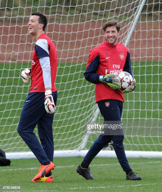 Dejan Iliev and Josh Vickers of Arsenal during their training session at London Colney on March 17 2014 in St Albans England