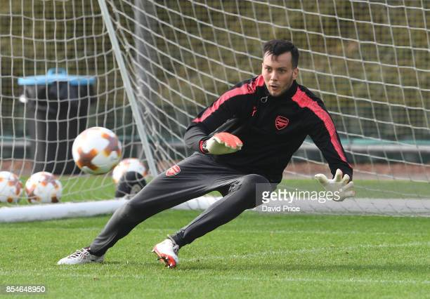 Dejan Iliev of Arsenal during the Arsenal Training Session at London Colney on September 27 2017 in St Albans England