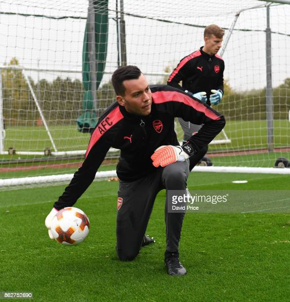 Dejan Iliev of Arsenal during the Arsenal Training Session at London Colney on October 18 2017 in St Albans England