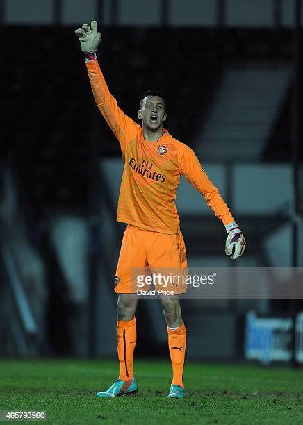 Dejan Iliev of Arsenal during the match between Derby County U21 and Arsenal U21 at iPro Stadium on March 10 2015 in Derby England