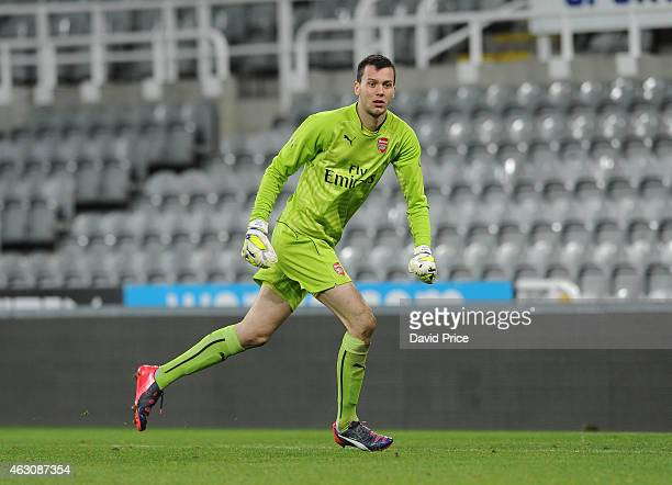 Dejan Iliev of Arsenal during the match between Newcastle United and Arsenal in the Barclays U21 Premier League at St James Park on February 9 2015...