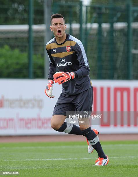 Dejan Iliev of Arsenal during the pre season friendly match between Arsenal U21 and AFC Bournemouth U21 at London Colney on July 11 2015 in St Albans...