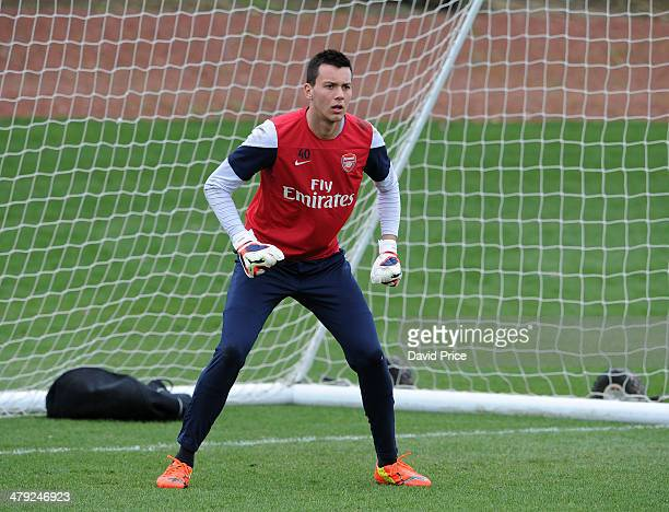 Dejan Iliev of Arsenal during their training session at London Colney on March 17 2014 in St Albans England