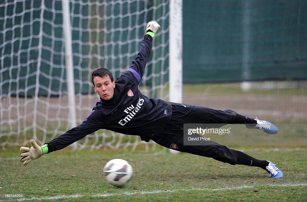 Dejan Iliev of Arsenal in action during a training session prior to the NextGen Series match between Inter Milan and Arsenal at Inter Milan Training Ground, Centro Sportivo Facchetti Facchetti on March 05, 2013 in Milan, Italy.