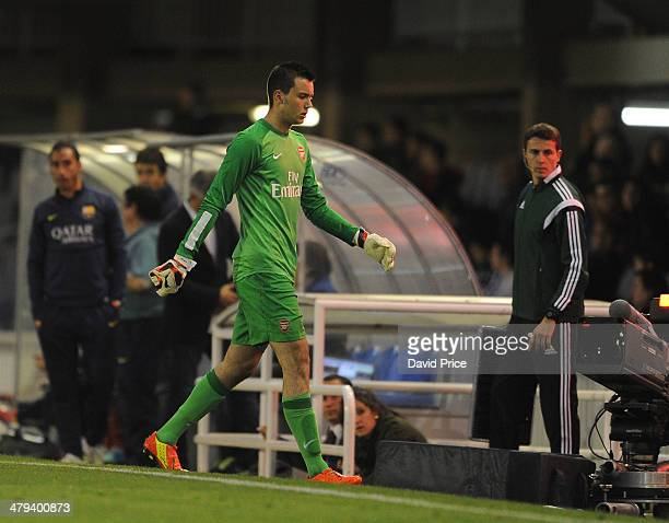 Dejan Iliev of Arsenal leaves the pitch having been shown the red card during the match between Barcelona U19 and Arsenal U19 in the UEFA Youth...
