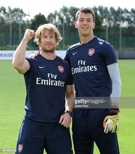 Dejan Iliev of Arsenal poses with Fitness Coach Jerry Flannery before the Barclays Premier League U18 match between Arsenal U18 and Manchester United...
