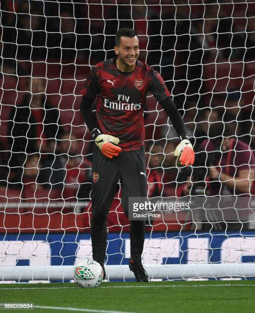 Dejan Iliev of Arsenal warms up before the Carabao Cup Fourth Round match between Arsenal and Norwich City at Emirates Stadium on October 24 2017 in...
