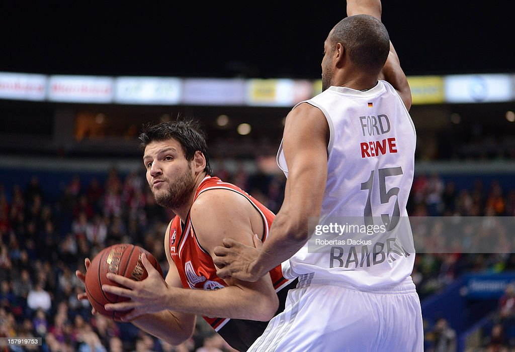 Dejan Ivanov, #44 of Lietuvos Rytas Vilnius in action during the 2012-2013 Turkish Airlines Euroleague Regular Season Game Day 9 between Lietuvos Rytas Vilnius v Brose Baskets Bamberg at Siemens Arena on December 7, 2012 in Vilnius, Lithuania.