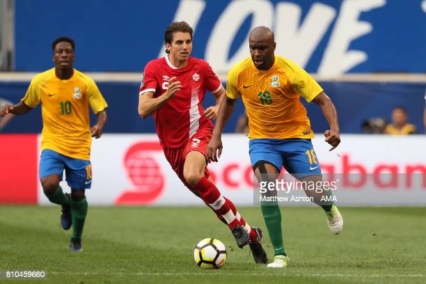 Dejan Jakovic of Canada competes with Sloan Privat of French Guiana during the 2017 CONCACAF Gold Cup Group A match between French Guiana and Canada...