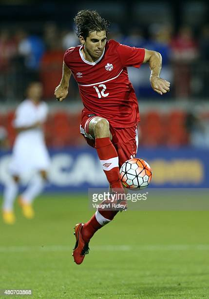 Dejan Jakovic of Canada plays the ball during the 2015 CONCACAF Gold Cup Group B match between Canada and Costa Rica at BMO Field on July 14 2015 in...