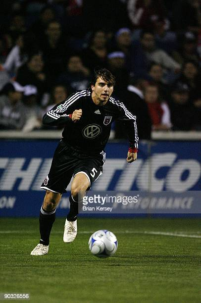 Dejan Jakovic of DC United moves the ball against the Chicago Fire during the first half at Toyota Park on August 29 2009 in Bridgeview Illinois DC...