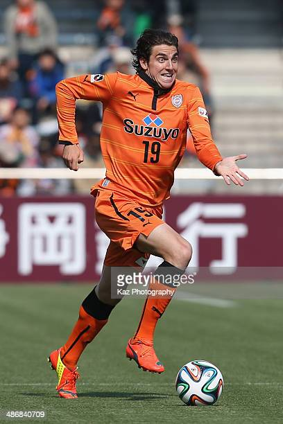 Dejan Jakovic of Shimizu SPulse in action during the JLeague match between Shimizu SPulse and Vegalta Sendai at IAI Stadium Nihondaira on April 26...