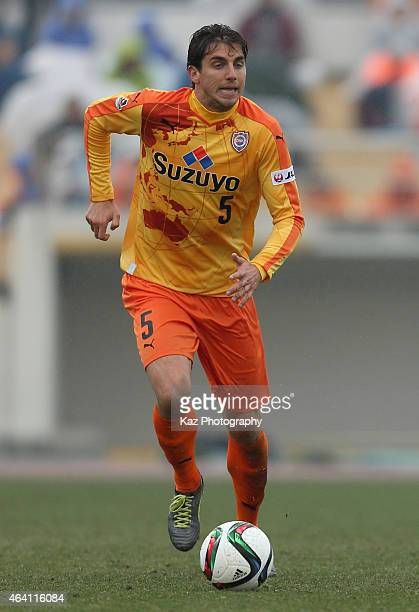 Dejan Jakovic of Shimizu SPulse in action during the preseason match between Shimizu SPulse and Ventforet Kofu at Ashitaka Stadium on February 22...