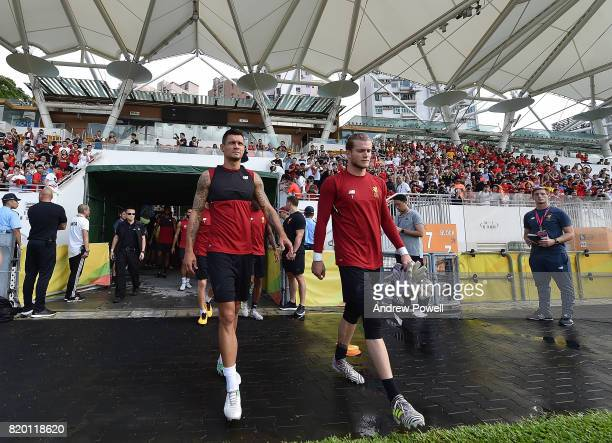 Dejan Lovren and Loris Karius of Liverpool at the start of a training session on July 21 2017 in Hong Kong Hong Kong
