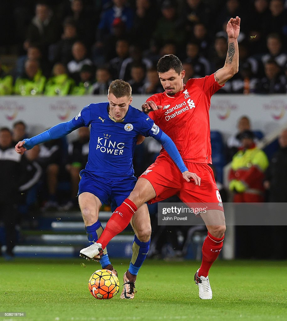 Dejan Lovren and Mamadou Sakho of Liverpool take on Jamie Vardy of Leicester City during the Barclays Premier League match between Leicester City and Liverpool at The King Power Stadium on February 02, 2016 in Leicester, England.