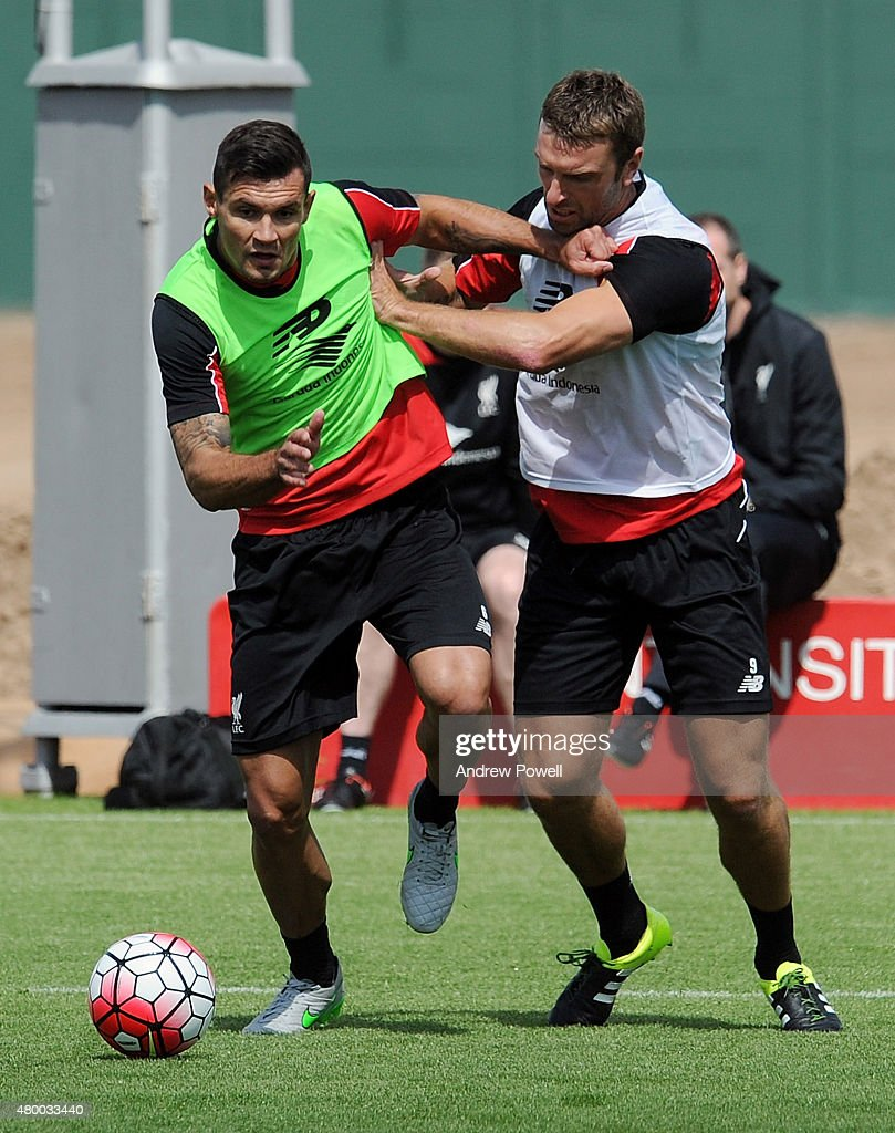 Dejan Lovren and Rickie Lambert of Liverpool during a training session at Melwood Training Ground on July 9, 2015 in Liverpool, England.