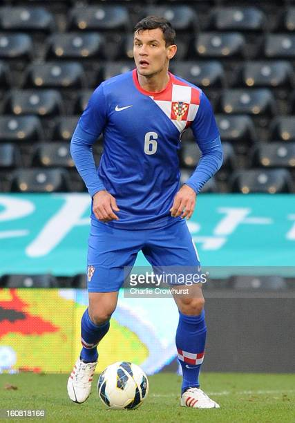 Dejan Lovren of Croatia attacks during the International Friendly match between Croatia and Korea Republic at Craven Cottage on February 6 2013 in...