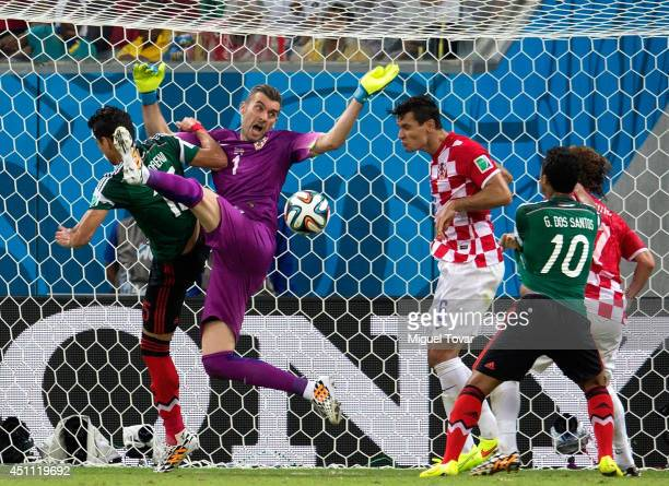 Dejan Lovren of Croatia clears the ball off the line during the 2014 FIFA World Cup Brazil Group A match between Croatia and Mexico at Arena...