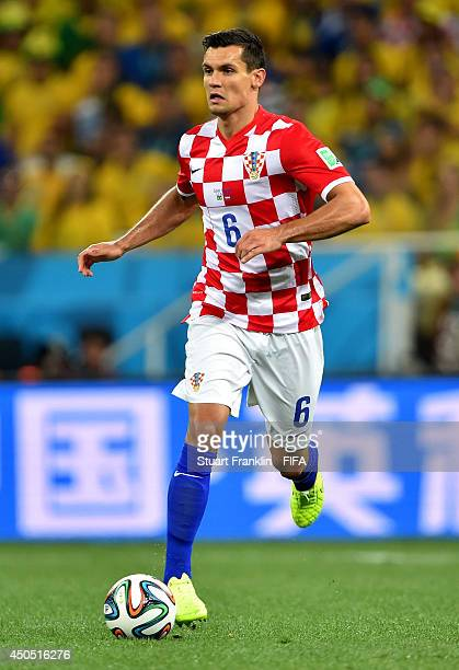 Dejan Lovren of Croatia in action during the 2014 FIFA World Cup Brazil Group A match between Brazil and Croatia at Arena de Sao Paulo on June 12...