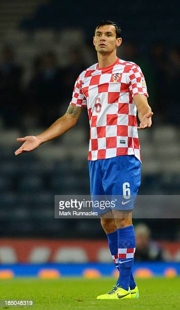 Dejan Lovren of Croatia in action during the FIFA 2014 World Cup Qualifying Group A match between Scotland and Croatia at Hampden Park on October 15...