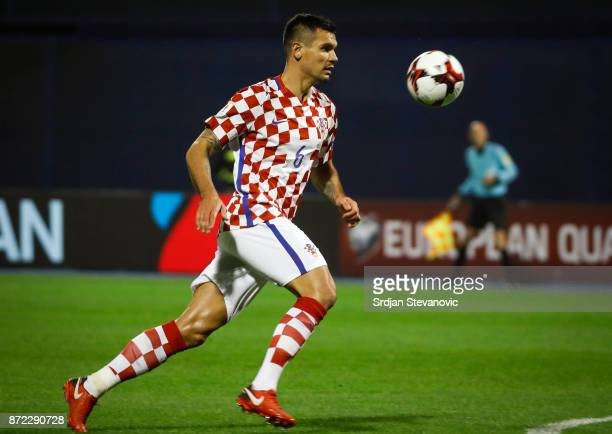 Dejan Lovren of Croatia in action during the FIFA 2018 World Cup Qualifier PlayOff First Leg between Croatia and Greece at Stadion Maksimir on...