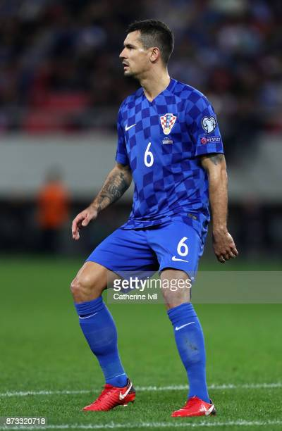 Dejan Lovren of Croatia in action during the FIFA 2018 World Cup Qualifier PlayOff Second Leg between Greece and Croatia at Karaiskakis Stadium on...