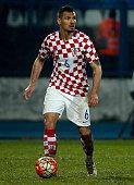 Dejan Lovren of Croatia in action during the International Friendly match between Croatia and Israel at stadium Gradski Vrt on March 23 2016 in...
