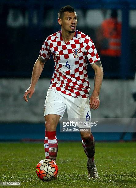 Dejan Lovren of Croatia in action during the International Friendly match between Croatia and Israel at stadium Gradski Vrt on March 23 2016 in...