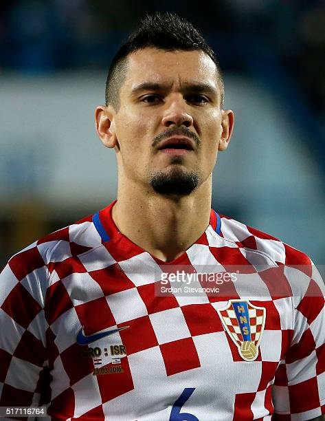 Dejan Lovren of Croatia looks on prior the International Friendly match between Croatia and Israel at stadium Gradski Vrt on March 23 2016 in Osijek...