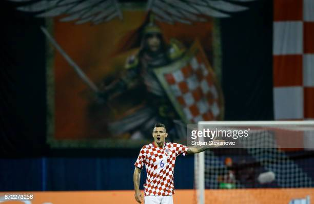Dejan Lovren of Croatia reacts during the FIFA 2018 World Cup Qualifier PlayOff First Leg between Croatia and Greece at Stadion Maksimir on November...
