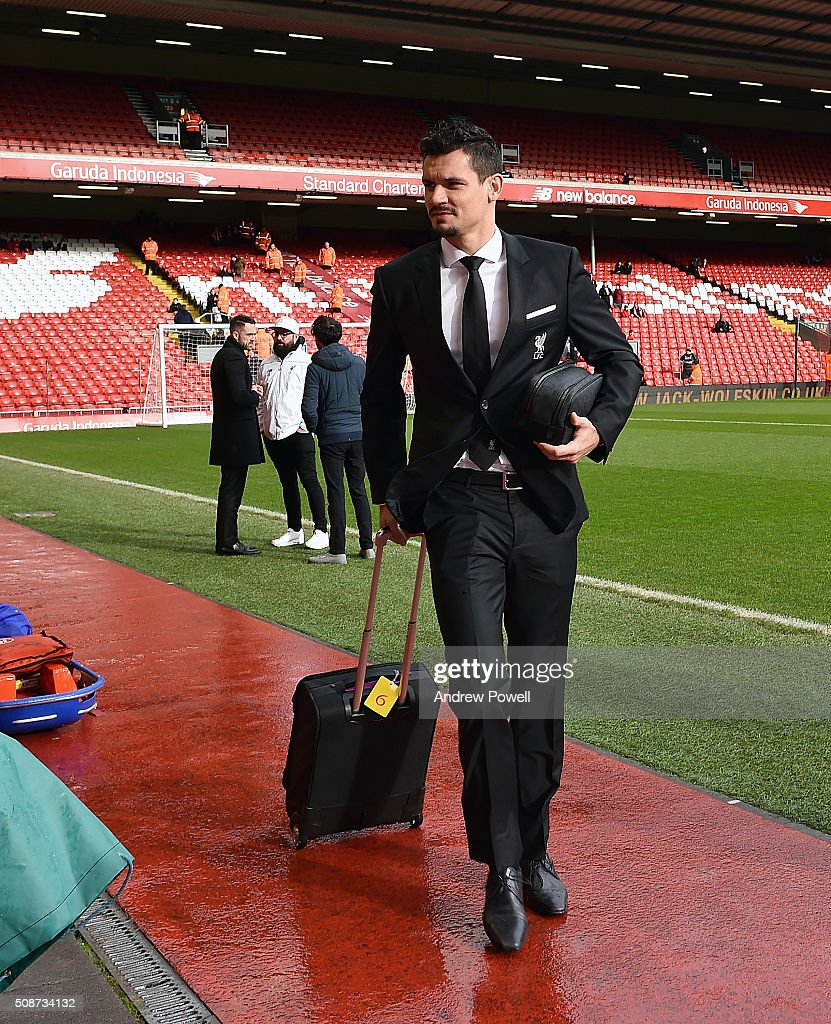 <a gi-track='captionPersonalityLinkClicked' href=/galleries/search?phrase=Dejan+Lovren&family=editorial&specificpeople=5577379 ng-click='$event.stopPropagation()'>Dejan Lovren</a> of Liverpool arrives before the Barclays Premier League match between Liverpool and Sunderland at Anfield on February 6, 2016 in Liverpool, England.
